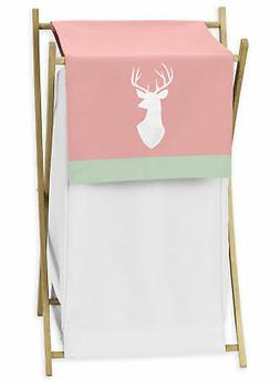 Sweet Jojo Coral White Deer Baby Clothes Laundry Hamper Girl