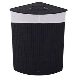 Bamboo Laundry Hamper Basket Wicker Clothes Storage Bag Corn