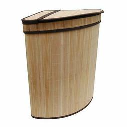 LCM Home Fashions Corner Folding Bamboo Laundry Hamper, Brow