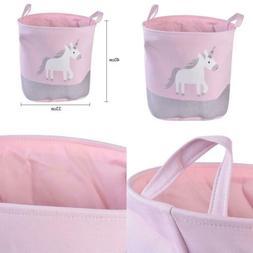 Cotton & Linen Cute Pink Horse Print Waterproof Collapsible