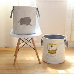 Cotton Print Laundry Hamper Foldable Basket Book Storage Org