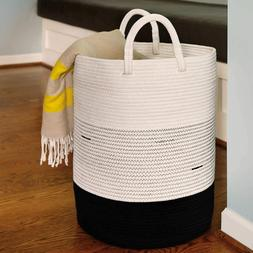 cotton rope hamper white and black 17