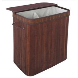 Dark Brown Hamper Laundry Basket Washing Cloth Storage Bin w