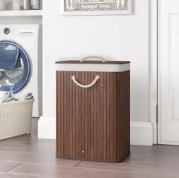 Dark Wood Bamboo Rectangular Laundry Hamper