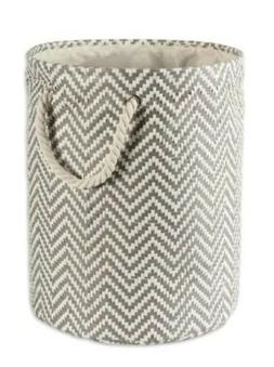 Decorative Round Storage Bin Hamper Gray Rope Handles Laundr