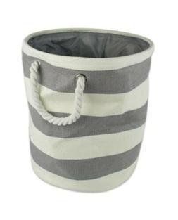 Decorative Round Storage Bin Hamper Gray Stripe Rope Handles
