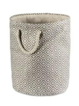 Decorative Round Storage Bin Hamper Gray with Rope Handles L