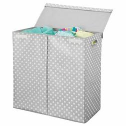 mDesign Extra Large Divided Laundry Hamper Basket with Lid -