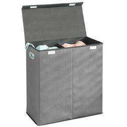 mDesign Divided Laundry Hamper Basket with Lid, Chrome Handl