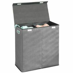 mDesign Divided Laundry Hamper Basket with Lid, Chrome Handl