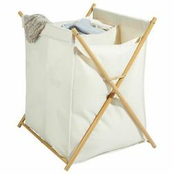 mDesign Divided Laundry Hamper, Portable/Collapsible Fabric