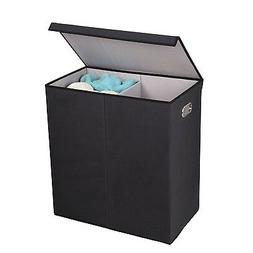 Double Hamper Laundry Sorter, Magnetic, Lid, Linen, Storage,