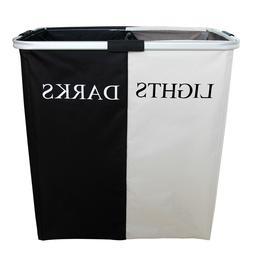 Double Laundry Foldable Hamper Black and White Washing Baske