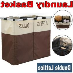 Double Laundry Hamper Basket Sorter Clothes Storage Foldable