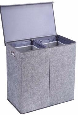 Double Laundry Hamper Storage Collapsible Basket Organizer L