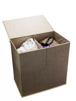 Double Laundry Hamper Two Compartment Sorter with Magnetic L