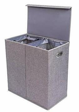 BirdRock Home Double Laundry Hamper with Lid and Removable L