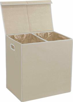 Double Laundry Hamper with Lid and Removable Laundry Bags, B