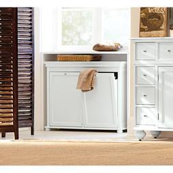Double Tilt-Out Hamper Laundry Basket Clothes Bin Bathroom S