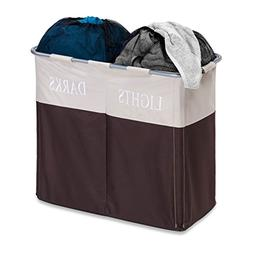 Dual Compartment Hamper in Brown/Taupe