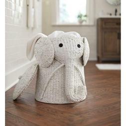 Elephant Hamper Wicker Laundry Basket Clothes Bin Woven Deco