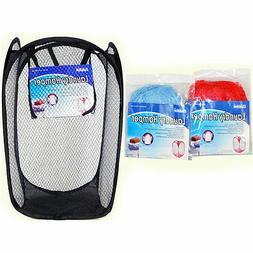 Large Laundry Bag Basket Mesh Hamper Foldable Wash Clothes S