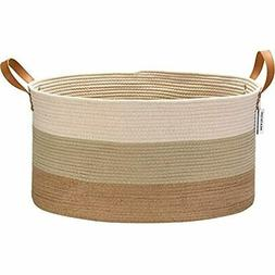 Extra Large Size Cotton Rope Woven Storage Basket With Handl