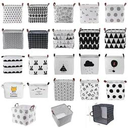Foldable Canvas Washing Clothes Laundry Basket Sorter Bag Ha