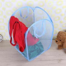 Foldable Clothes Storage Baskets Mesh Washing Dirty Laundry