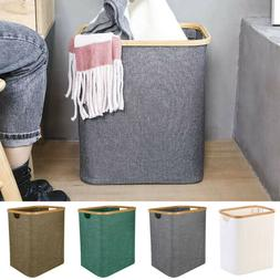Foldable Laundry Basket Bamboo Linen Hamper W/ Handle Storag