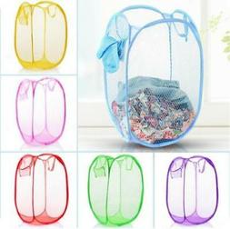 Foldable Washing Clothes Laundry Basket Bin Hamper Mesh Stor