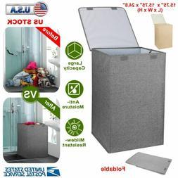 Foldable Washing Laundry Basket Hamper Bag Clothes Storage S
