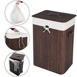 Folding Design Bamboo Laundry Hamper Washing Basket Cloth Bi