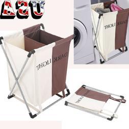 Folding Laundry Sorter Hamper 2 Section Washing Clothes Bask