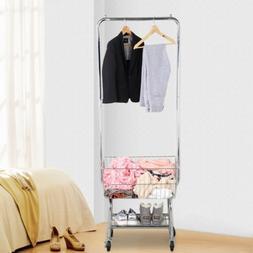 Garment Organizer Laundry Cart With Double Pole Rack Hamper