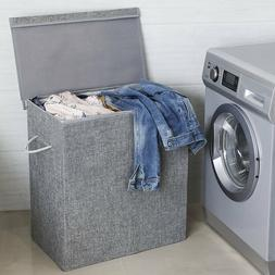 Gray Laundry Hamper with Lid 2 Sections Detachable Lid Cloth