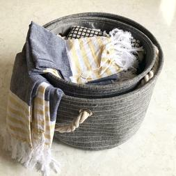 Grey Round Canvas Storage Basket With Handles Rustic Style L