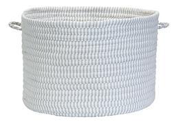 Solid Ticking Storage Hamper, 16 by 24-Inch, Gray