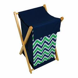 BACATI Hamper Folding Wooden Frame Kids Zig Zag Navy Green N