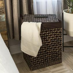 Hand Woven Brown Water Hyacinth Laundry Hamper Basket Remova