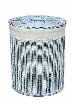 Hand Woven Rattan Laundry Hamper Cotton Liner Bin Organize W