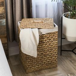 Hand Woven Water Hyacinth Laundry Towel Hamper Basket Remova