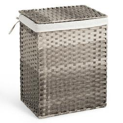 Handwoven Laundry Hamper W/Removable Liner Bag Synthetic Rat