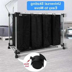 Heavy-Duty 4-Bag Rolling Laundry Sorter Hamper Clothes Stora