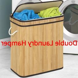 Home Double Laundry Hamper Bamboo Separate Light and Dark Cl