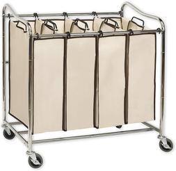 Home Houseware 4-Bag Divided Laundry Cart Sorter Hamper Hori