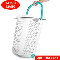 Home Laundry Basket Pop-Up Handle Hole Portable Wheels Rolli
