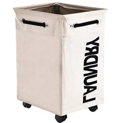 Haundry Collapsible Laundry Hamper with Wheels, Rolling Larg