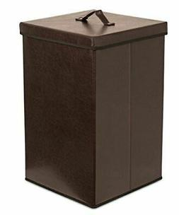 Internet's Best Faux Leather Laundry Hamper with Lid - Singl