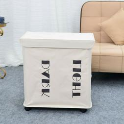 Iron Frame Folding Storage Laundry Basket Sorter Hamper with